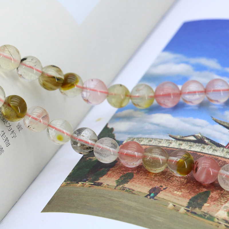 Round 8mm Pink multicolor watermelon tourmaline loose beads 15inches 2pc/lot DIY suitable for women making jewelry free shipping(China (Mainland))
