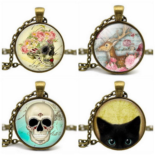2015 Fashion Vintage Gold Bronze Chain Statement Necklace Art Picture Round Pendant Necklace Acrylic Glass Cabochon Necklace(China (Mainland))