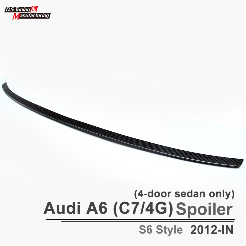 A6 C7 S6 Style Carbon Fiber Spoiler Rear Trunk Back Wing For Audi A6 C7 / 4G 2012 - IN 4-Doors Sedan Only(China (Mainland))