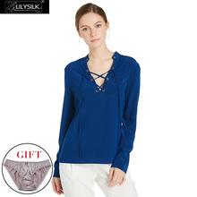 Buy LILYSILK Silk Blouses Womens Ladies Pure Mulberry 18MM V Neck Lace Front Designer Shirt for $134.40 in AliExpress store