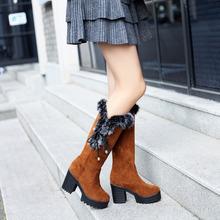 Nuevas mujeres encaje sexy encima de la rodilla botas altas tacones altos cuadrados mujeres botas de invierno botas de nieve mujer zapatos casuales de gran tamaño 34-46(China (Mainland))