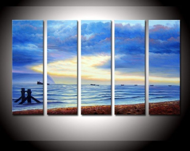 hand-painted  wall pictures for living room boat home decoration Landscape Oil Painting on canvas 5pcs/set picture frame