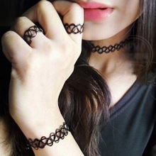 2016 New Bracelets/Ring/Necklace Pendant Jewelry Black Tattoo Handmade Choker Sets Retro Elastic Stretch Gothic(China (Mainland))