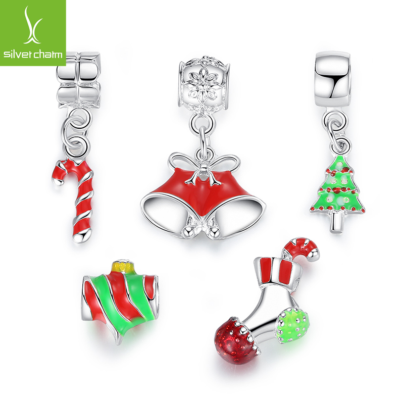 TOP Quality Silver Plated Christmas Style Charm Beads Fit Original Pandora Bracelet Chain For Women DIY Jewelry Free Shipping(China (Mainland))