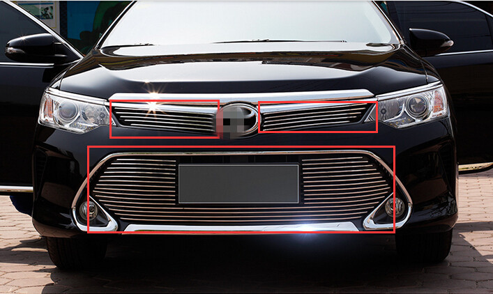 Stainless steel Front Upper+Bottom Grill Grille protector cover trim 2pcs For TOYOTA Camry 2015 not fit North American Model(China (Mainland))