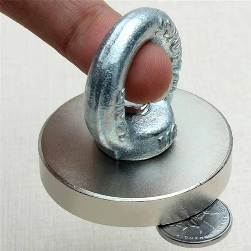 Super Strong Disc Round 50x10mm Ndfeb Rare Earth Hook Salvage Magnet Neodymium Eyebolt Ring(China (Mainland))