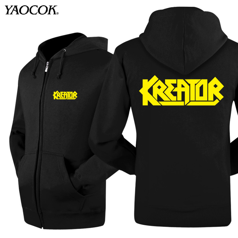 2016 Winter Clothing Skateboard Casual Thick Zipper Outdoor Jackets Coats Printed Kreator Rock Band Mens Hoodies And SweatshirtsОдежда и ак�е��уары<br><br><br>Aliexpress