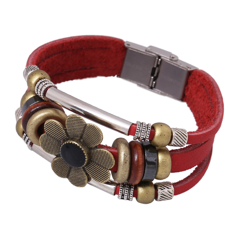 BBLA Wholesale Sun flower beaded bracelet leather bracelet Korean alloys 10 dollar store jewelry lovers jewelry(China (Mainland))