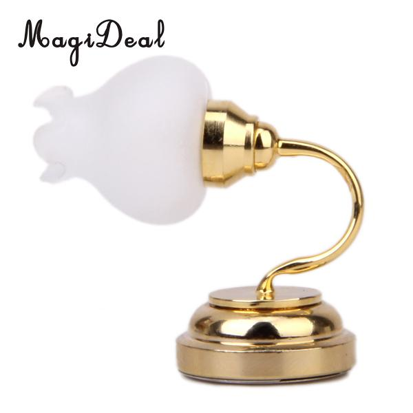 Gold Plated Floral Metal 1:12 Dollhouse Miniature LED Wall Lamp Light Model for Dolls House Bedroom Furniture Decor Acc