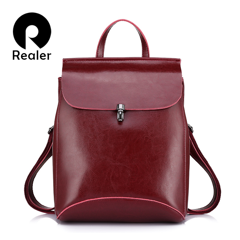 REALER brand high quality cow split leather women backpack vintage backpack for teenage girls casual bags female shoulder bags(China (Mainland))