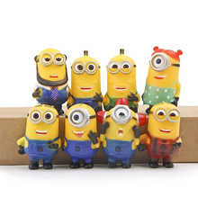 8Pcs/set Minions 2015 Despicable Me 2 figures toys doll Minion Ornament Christmas Gift minions Decoration boys girls Brinquedos