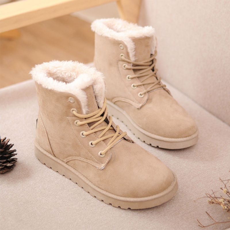winter boots snow boots female cotton-padded shoes women's shoes flat heel plus velvet thickening short scrub lacing(China (Mainland))