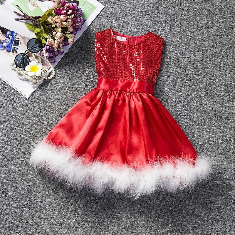 Sleeveless Girls Dress Baby Christmas Dress Girl Clothes Red Feather Tutu Baby Girl Princess Dresses Roupas Infantis Menina(China (Mainland))