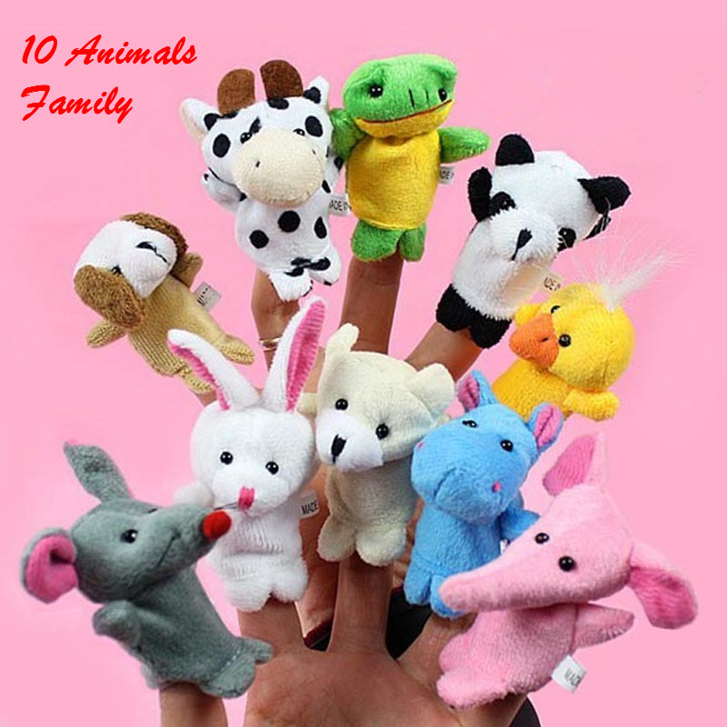 10 Kinds animal available Cartoon Biological Animal Finger Puppet Plush Child Baby Favor Dolls Top quality Soft toys PX1000(China (Mainland))
