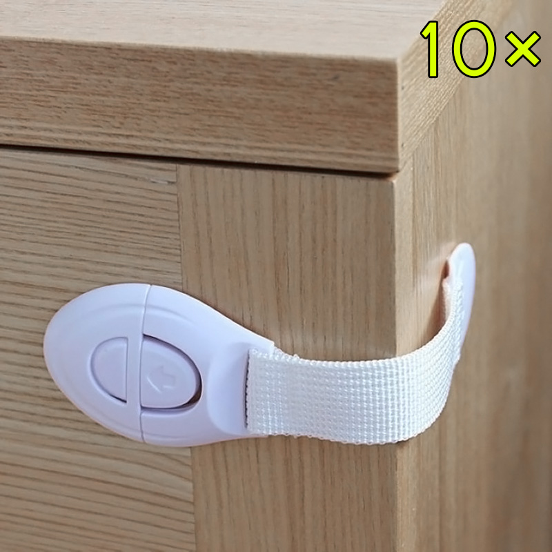 10 Pcs Drawers Cabinet Door Refrigerator Lengthened Bendy Safety Plastic Locks For Child Kid Baby TB Sale(China (Mainland))
