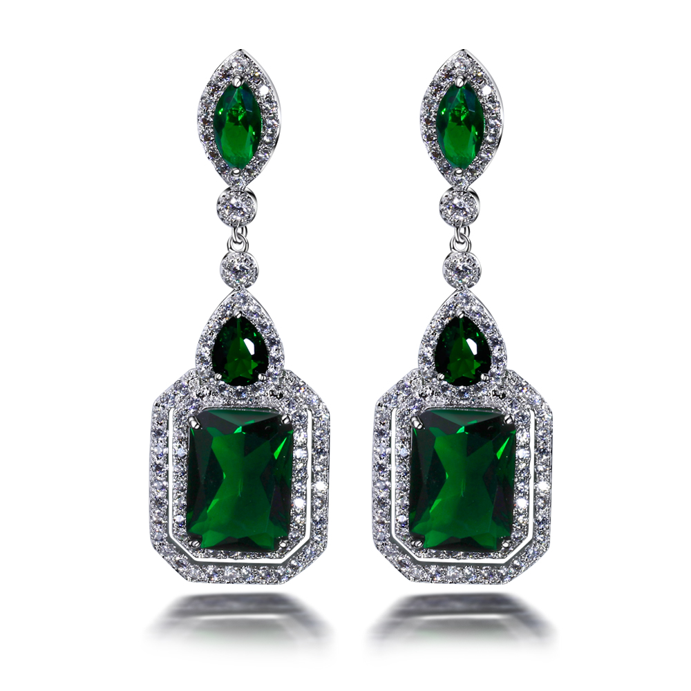 Big Wedding earrings Lead Free Platinum Plated Cubic Zirconia Stone Fashion Earring vintage jewelry Free Shipping(China (Mainland))