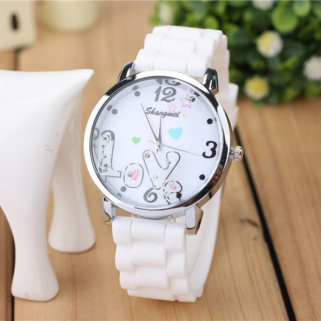 Ms the new trend of the quartz watch, a variety of color silicone strap,LOVE design unique watches,girls LOVE to watch, leisure(China (Mainland))