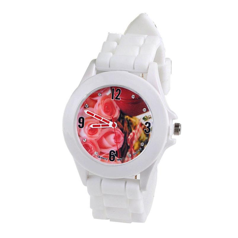 Top Fashion Sillicone Watch Korean Mini Watch Gel Quartz Analog Sports Rose Women Wrist Watch Brand New(China (Mainland))