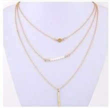 Fashion Women Three Layers Gold Chain Necklace Multilayers Gold Plated Round Pendant Necklace Chain Lady Fashion Necklaces