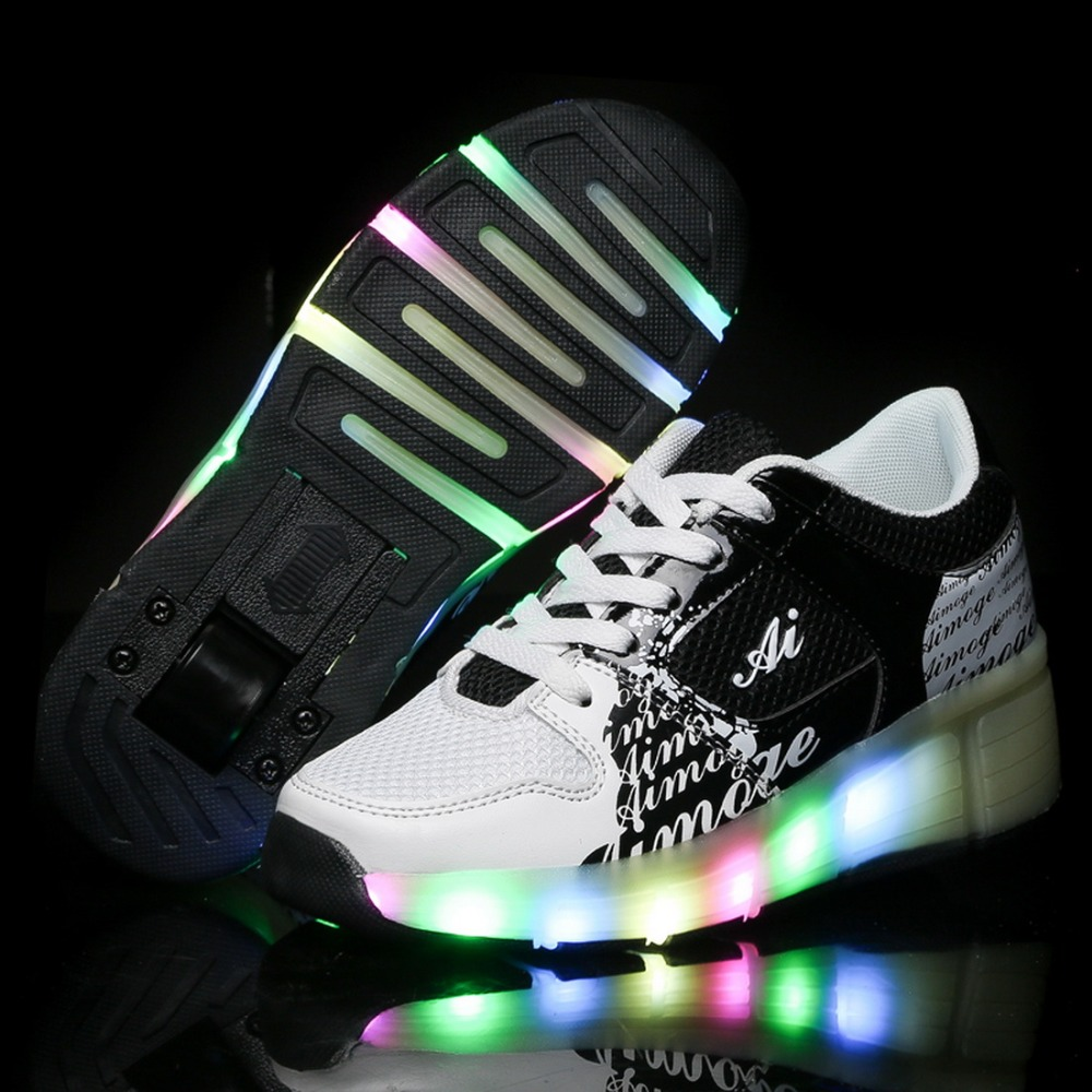Children Fashion Led Heelys Sneakers for Boys and Girls Kids Roller Sneakers Wheel Sneakers Teenage Heelys Shoes With Led Light