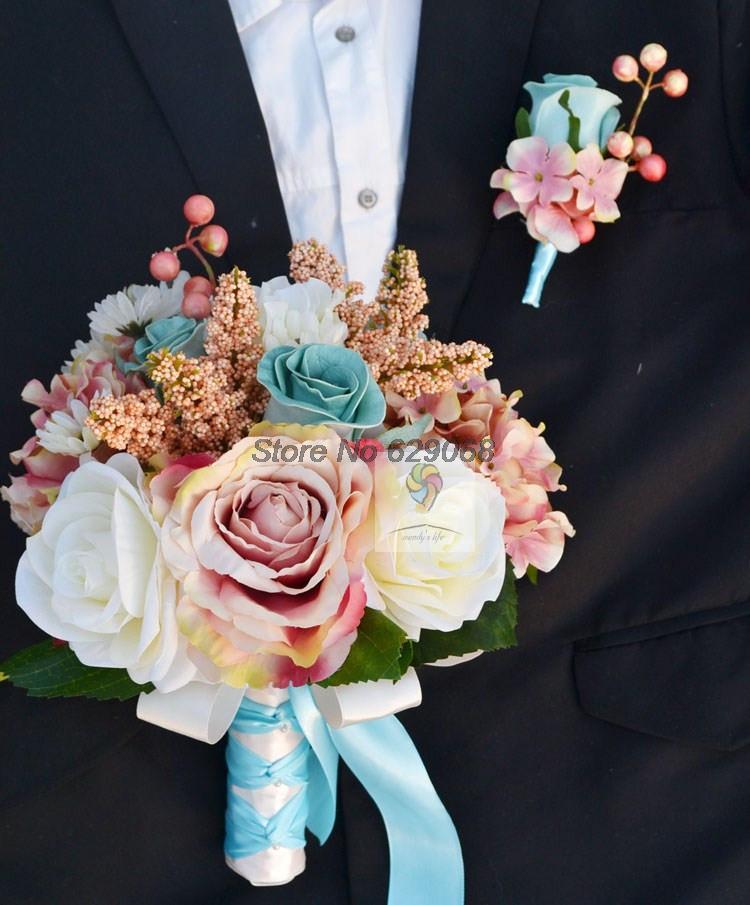 2014 new crystal wedding flowers bridal bouquets champagne blue rose hydrangea bridal wedding. Black Bedroom Furniture Sets. Home Design Ideas