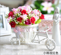 Free Shipping,quality rattan vase + flowers meters artificial flower set home decoration weding decoration