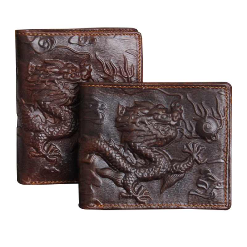 Wallet men genuine leather China Loong high quality men wallets leather fashion wallet purse male clutch money bag purse Dragon(China (Mainland))