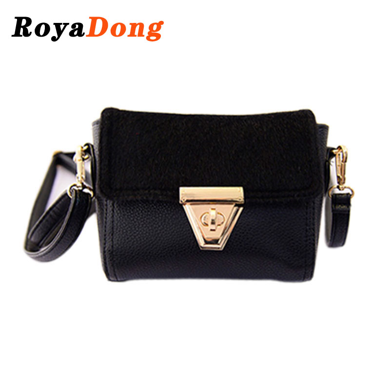 RoyaDong 2015 Winter Women Messenger Bags Fashion Fur Handbags Desigual Trapeze Shoulder Bag Ladies Mini Brand Designer Hand Bag(China (Mainland))