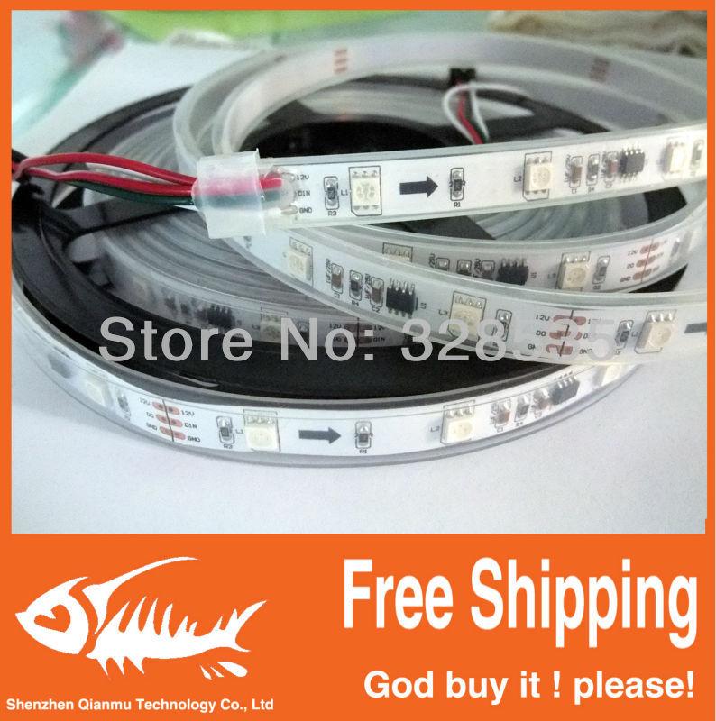 5m ws2811 50 ICs 5050 digital RGB Strip,150LED IP67 tube waterproof dream magic color 12V Led Strip,30LED/m + free shipping(China (Mainland))