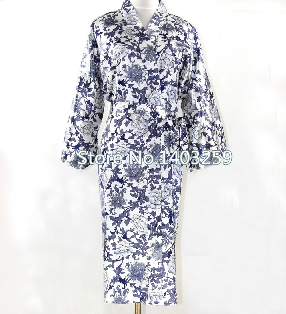 High Fashion Blue And White Chinese Women Long Robes Silk Rayon Nightgown Kimono Bath Gown pijama feminino Plus Size NR030Одежда и ак�е��уары<br><br><br>Aliexpress