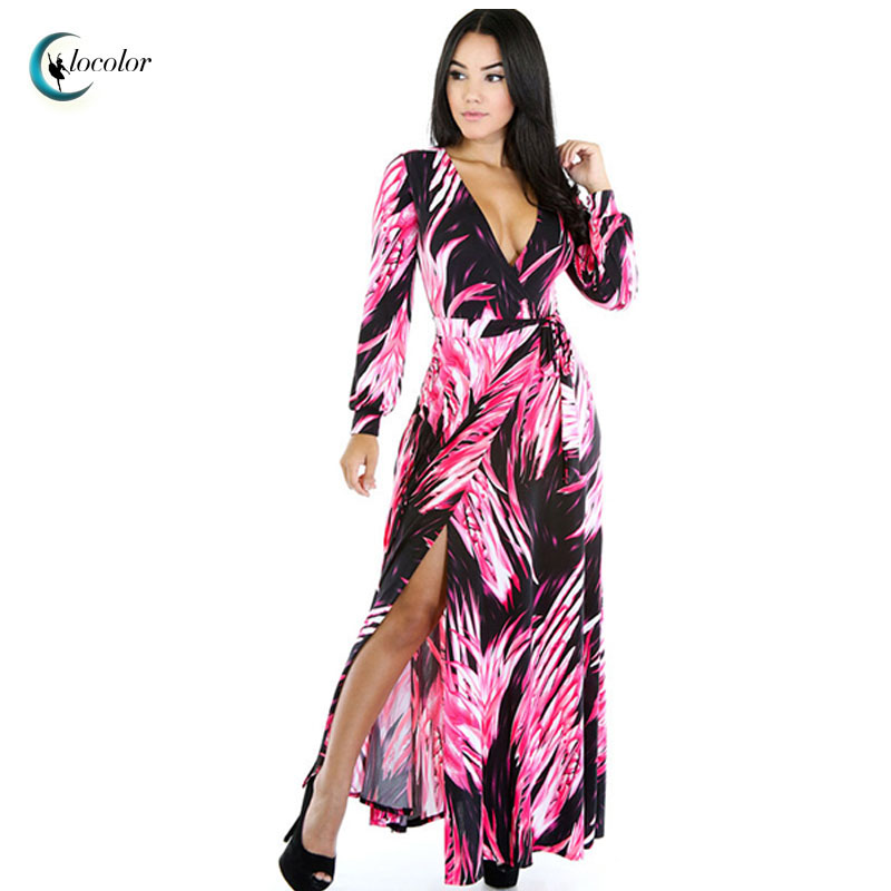 Clocolor 2016 summer maxi dress Bohemian women party Pink Green Asymmetry hollow out, backless, splicing V-neck maxi dress(China (Mainland))