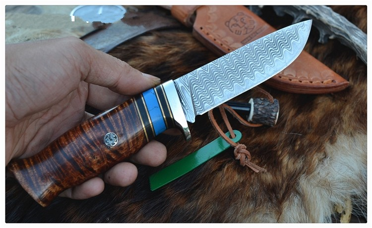 Buy Tactical straight knife Damascus  craft knife Outdoor hunting tools Multi-function pattern saury knife tool Nordic style  knife cheap