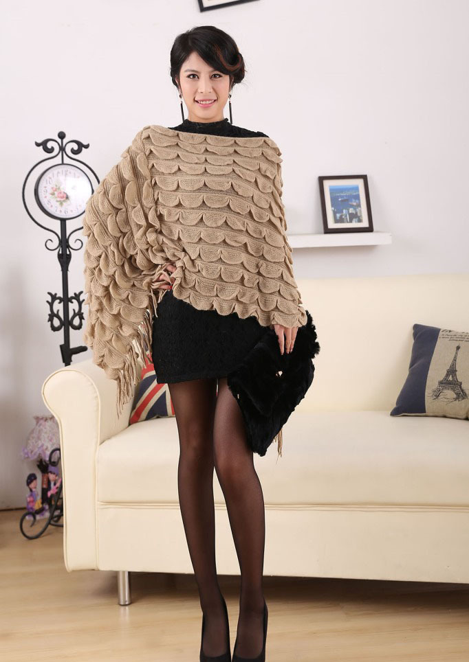 80s VTG Winter Women Poncho Natural Knitted Faux Cashmere Fur Shawls Pullovers Sweater Lady Wrap Outerwear EA6002(China (Mainland))