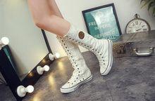 Big size 35-43 fashion punk klinknagels knie hoge canvas schoenen vrouwen gladiator lace up side rits lange laarzen cheerleading dans schoen(China)