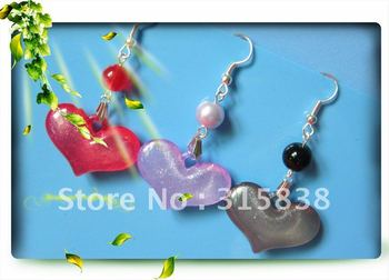 Free delivery,Yakeli earrings,Peach heart pendant earrings, Earrings wholesale,18pairs/lot,$0.84-$1.48/pair.