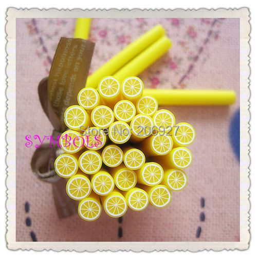 5pcs A-06 5mm Cute Lemon Fruit Cane Fancy Nail Art Polymer Clay Cane Nail Art Decoration(China (Mainland))