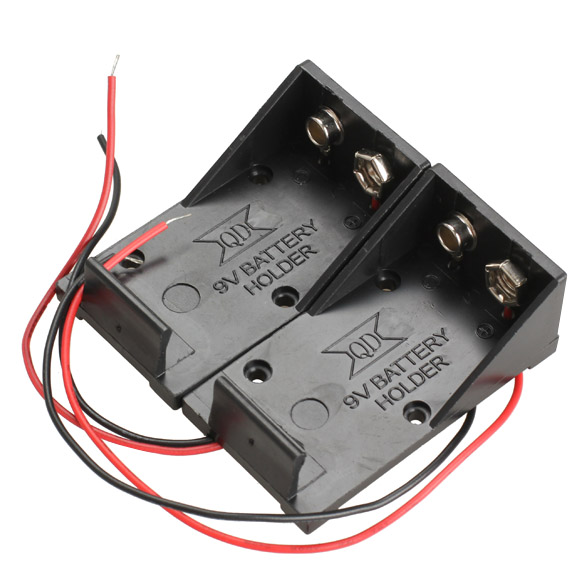 image for 2pcs Single Slots 1x 9V Battery Clip Holder Case Box With Wire Leads D