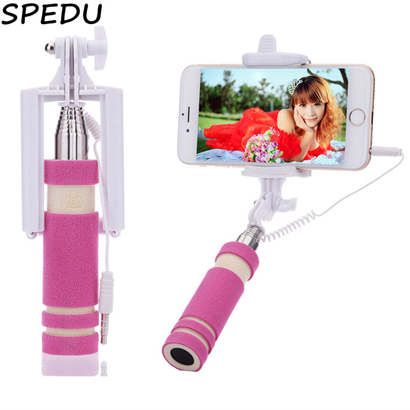 portable Mini folding mobile phone Wired self Selfie Sticks For iphone samsung galaxy Built-in Shutter Camera Monopod Tripod(China (Mainland))