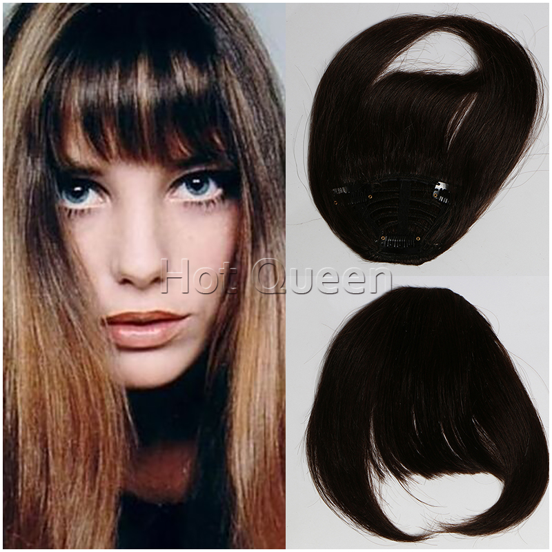 Hot Queen Clip in dark brown silky straight Brazilian virgin human hair blunt bangs with clip