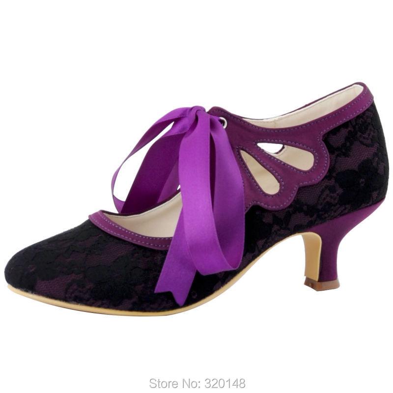 Woman Shoes Mary Jane  New HC1521-C Purple Close Toe Women Bridal Shoes  Ribbon Tie Mid Heel Wedding Shoes<br><br>Aliexpress