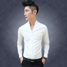 2014 autumn new men's solid color shirt Slim Stretch personality sexy V-neck evening dress men's long-sleeved shirt