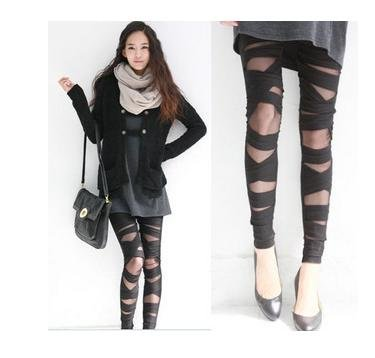 Free Shipping Fashion   Women's  black cross bandage hollow out  Leggings pants 10pcs/1lots