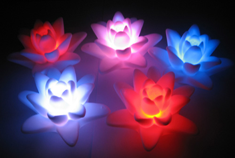 Artificial lotus flower led night light water actived for Light up flower lamp