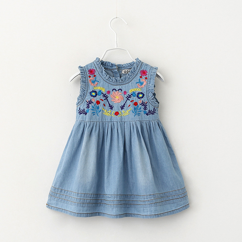 3 --7 Years Children High Quality Embroidery Designs Kids Dresses For Girls Sleeveless Denim Party Girls Dresses Summer 2016(China (Mainland))