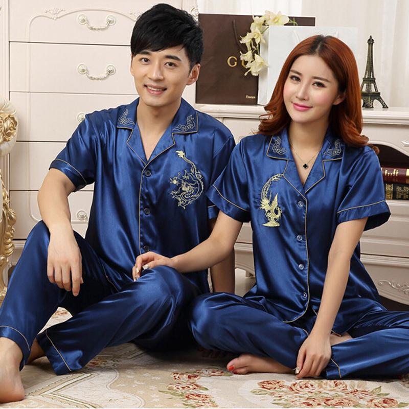 Chinese Silk Pajamas For Women & Men Couples Matching Pajamas Homewear Spring Autumn Long Sleeve Silk Satin Couple Pajama Sets(China (Mainland))