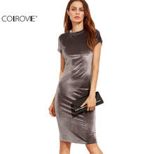 COLROVIE Velours Gaine Dress Bureau Dames Col Rond Mince Crayon Dress Vêtements de Travail Genou Longueur Dress(China (Mainland))