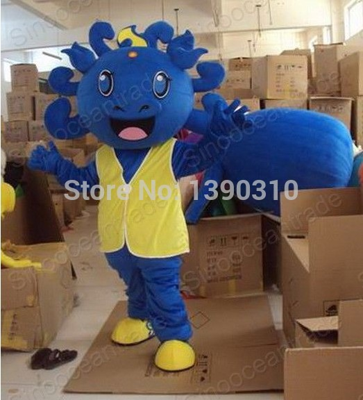 High quality New LOVELY Special BIG HEAD Dragon Mascot Costume Character Halloween Costumes Fancy Dress Suit Free Shipping(China (Mainland))