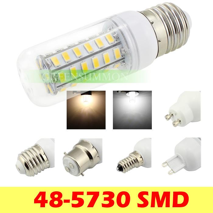 E27 E14 B22 G9 GU10 E12 15W 48 LED Lamp 5730 SMD AC 220V 240V Corn Bulbs Warm / White light(China (Mainland))