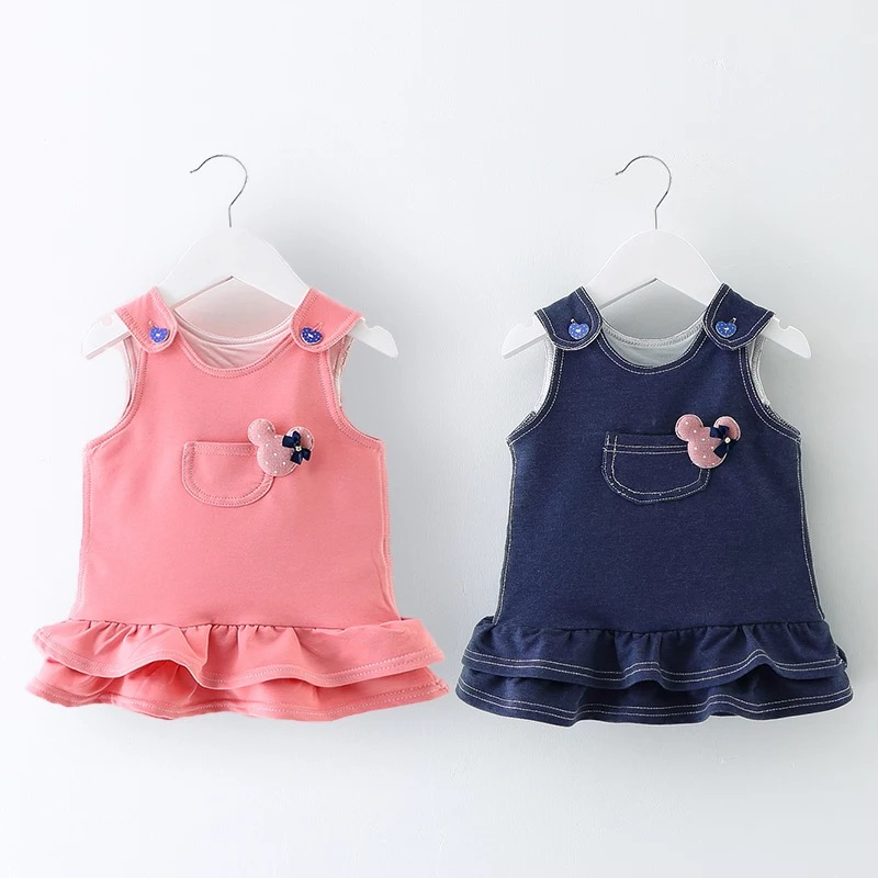 Real photo!0-profit! Baby spring dress girl dress 0-1-2-3 years old baby cowboy strap princess vest dress(China (Mainland))