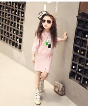 2016 New Arrival Kids Spring Autumn Sets Character Human Girl Clothing Set Long Sleeve Fleece tops and empire hip skirt
